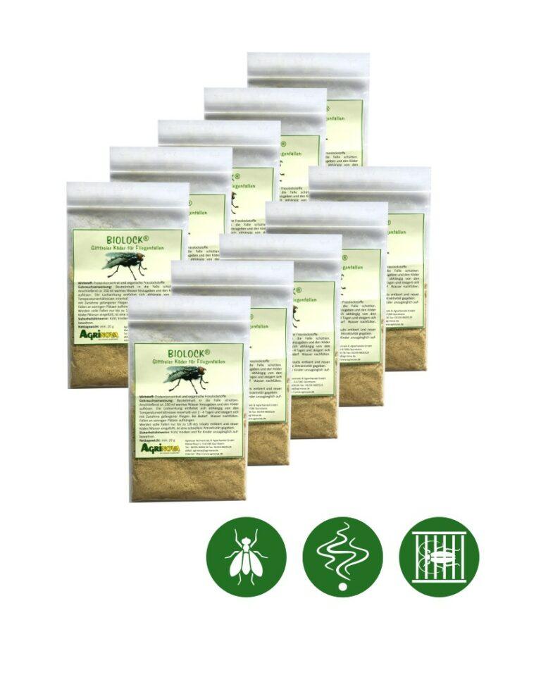 Biolock® Fliegenköder - 10 Köder á 20g /Packung für Fliegenfalle mini