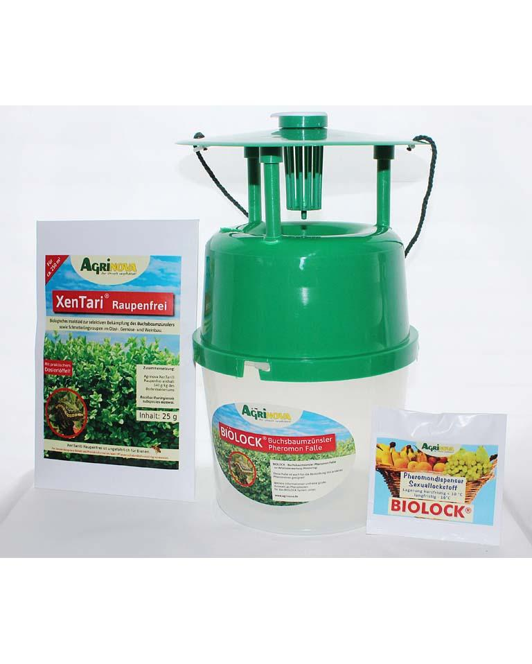 Buchsbaumzünsler-Falle mit 3 Lockstoff-Dispenser und Agrinova XenTari® Zünslerfrei 25 g